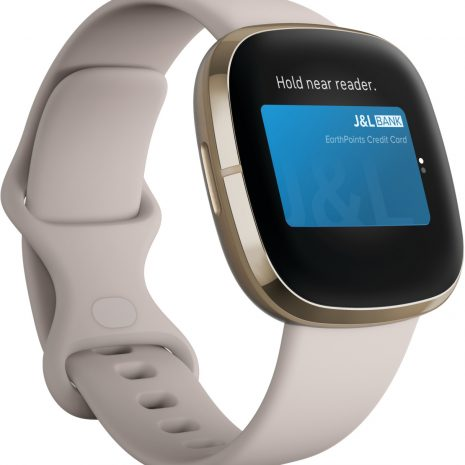 Fitbit Sense, lunar white/soft gold stainless steel