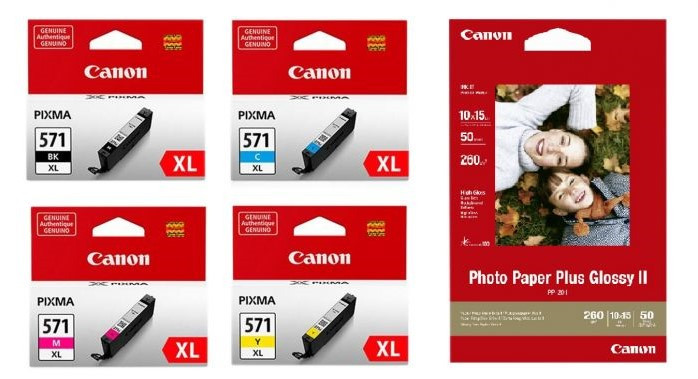 Canon tint + fotopaber Photo Value Pack CLI-571XL, must/värviline