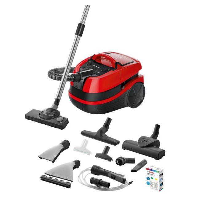 Vacuum Cleaner BOSCH BWD421PET Canister/Wet/dry/Aquafilter 2100 Watts Black / Red Weight 7 kg BWD421PET